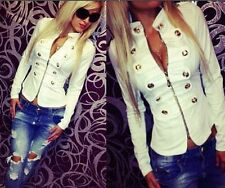 Women's Double-breasted Jacket Tops Long Sleeve Slim Casual Jacket Tops Yellow