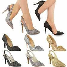 New Womens Ladies Mid High Heel Glitter Sparkly Party Court Shoes Stilettos Size