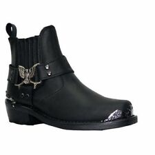 Mens Black EAGLE LO classic Style goodlooking biker Cowboy Western Leather Boots