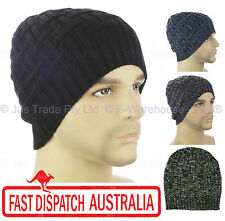 Winter Unisex Men Ear Head Warmer Skull Knit Beanie Hat Knit Check Cross Ribbed