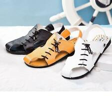 Closed toe Summer Men's leather strappy lace up flexibly beach coastal sandals