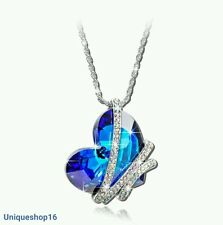 SWAROVSKI CRYSTAL BLUE SILVER HEART PENDANT NECKLACE GIFT MOTHER WIFE BIRTHDAY