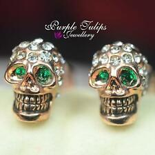 Emerald Eyes Punk Skull Swarovski Crystal Stud Earrings,18K Rose/White Gold GP