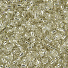 100g Clear Silver Lined Round Glass Seed Beads Size 11/0 (2mm) Jewellery Making