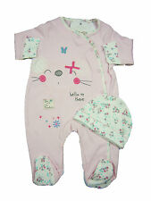 Baby Girl Clothing Sleepsuit and Hat Set All in One Pink Mouse New