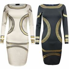 WOMENS CELEB INSPIRED KIM KARDASHIAN GOLD FOIL  PARTY LADIES BODYCON DRESS 8 -24