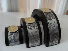 3 wood stackable candle holder elephant design from Thailand