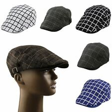 Mens New Plaid Check Beret Ivy Cabbie Gatsby Newsboy Caps Adjustable Buckle Hat