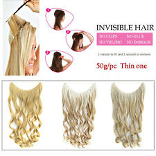 """22"""" Long Wave Curly Invisible Wire Hair Extensions Synthetic Hairpiece 50g/pc"""
