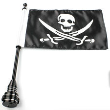 "Black Motorcycle 15"" Flagpole Mount +  6.7"" X 11"" Skull Knife Pattern Flag New"