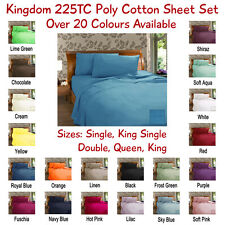 Quality New Kingdom 225TC Poly Cotton Sheet Set-Fitted & Flat Sheet & Pillowcase