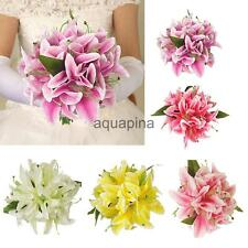 Artificial Silk Lily Home Wedding Decor Bridal Flower Girl Bouquet 5 Colors