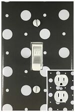 White Black Polka Dots Single Toggle Decorative Light Switch Cover Outlet Plate