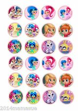 24 SHIMMER & SHINE MARSHMALLOW FAIRY CAKE CUPCAKE TOPPERS  WAFER CARD RICE PAPER