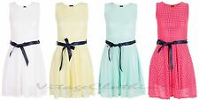 Girls Kids Summer Party Plain Full Lace Sleeveless Tie Belt Dress 3 - 13 Years