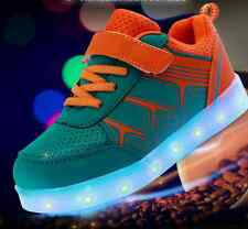 New Shiny LED Light Up Kids Boys Girls Dance Sneakers Trainer Causal Skate Shoes