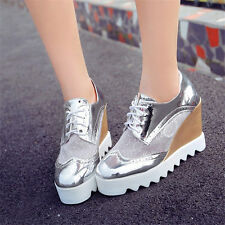 Womens Patent Leather Platform Wedges Summer Ankle Boots High Heel Creeper Shoes