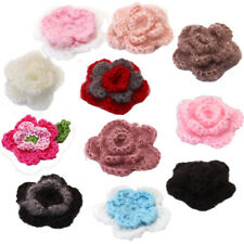 10 x Handmade Crochet Knit Flower Appliques Baby Clothes Shoes Sewing DIY Craft