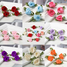 100pcs Mini Satin Ribbon Rose Flower Leaf Wedding Decor Appliques Sewing