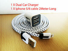 Dual usams Car Charger usb 3.1a Iphone 5 6 4 2 meter cord cable 5 5s 6 plus 8pin
