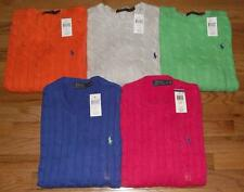 NEW NWT Mens Polo Ralph Lauren Crewneck Cableknit Sweater Cotton $115 Pony Logo
