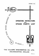 1952-1958 Villiers Mk 4F operating instructions and parts list