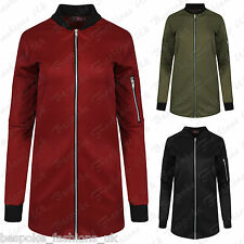 Ladies Women's Long Sleeve Zip Up Longline Tunic Mini Bomber Jacket Coat 8-14