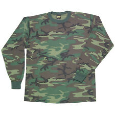T-Shirt Long Sleeve Men's Woodland Camouflage Tee Swing Size Small Or Medium New