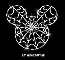 """6.1"""" Mickey Mouse Spiderweb Halloween iron on rhinestone transfer patch decal"""