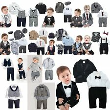 Baby Boy Wedding Christening Dressy Tuxedo Suit Outfit+Jacket Clothes Set 0M-5T