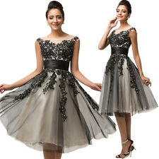 Short Formal Black Vintage Cocktail Dress Tulle Bridesmaid Mini Party Ball Gown