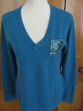 New Saks Fifth Ave Women's Teal 100% Cashmere Embelished Sweater Sz Medium $265