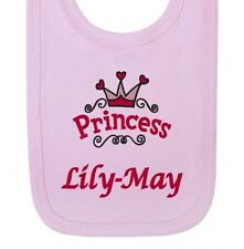 Personalised Princess Any Name Girls Newborn Baby Bibs Embroidered Gifts