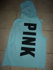 "VICTORIAS SECRET PINK CAMPUS ""PINK"" SLEEVELESS DOG HOODIE NWT"