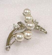Brooch Freshwater Real Pearl White Black Pink 18K Gold Plated Wedding Xmas Gift