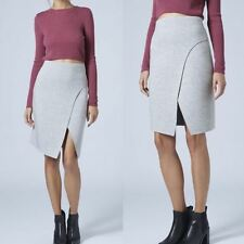 Ex Topshop Grey Marl Skirt Bonded Curve Wrap Pencil Work Office Casual 6 8 10 12