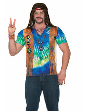 Adult's Mens 60s Peace Time Hippie Printed Costume Sublimation Shirt