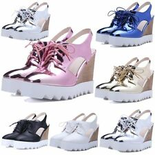 Womens Platform Wedges Summer Ankle Boots High Heels Cut Out Creeper Sandals