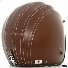 Brown PU Leather Motorcycle Street Open Face Helmet Cafe Racer Bobber Biker