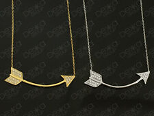 925 Sterling Silver /18K Gold Vermeil Arrow Necklace Cubic Zirconia CZ Crystals