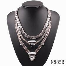 new pendant bib choker chunky statement chain alloy crystal necklace for women