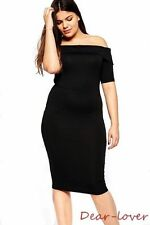 New Black Plus Size Sexy Women Folded Off-Shoulder Evening Party Prom Midi Dress