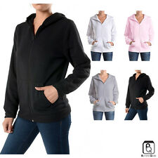 New Women's Zipper Hoodie Sweater Soft Hooded Plain Zip Up Jacket Sweatshirt