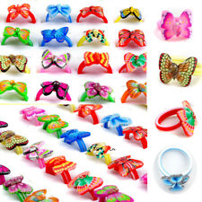 100/50Pcs Butterfly Fimo Rings Cocktail Polymer Clay Wholesale Children Kids Hot