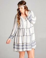 Boho bohemian Gypsy Hippie Off-White Navy mini short dress tunic Velzera S, M, L