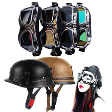 New Motorcycle Adult PU Leather Helmet Germany Style Half Open Face With Goggles