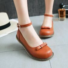 New Womens Cute Mary Jane Shoes Ankle Strap Ballet Flats Oxfords Casual Shoes