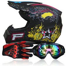 Dot Motocross+Goggles+Gloves Off-Road Motorcycle ATV Helmet Dirt Bike Head Guard