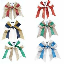 "3pcs 7"" Shimmer Large Cheer Bows Big Sparkly Hair Bows for Cheerleading Girls"