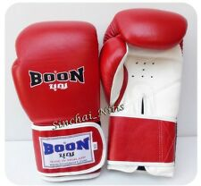 BOON BOXING GLOVES VELCRO RED 8,10,12,14,16 oz MUAY THAI SPARRING TRAINING  MMA